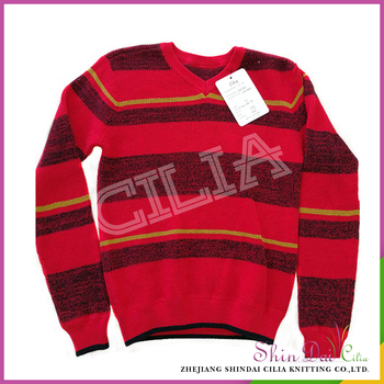 Factory Price Wholesale Hand Knitted Designs V Neck Striped Sweater