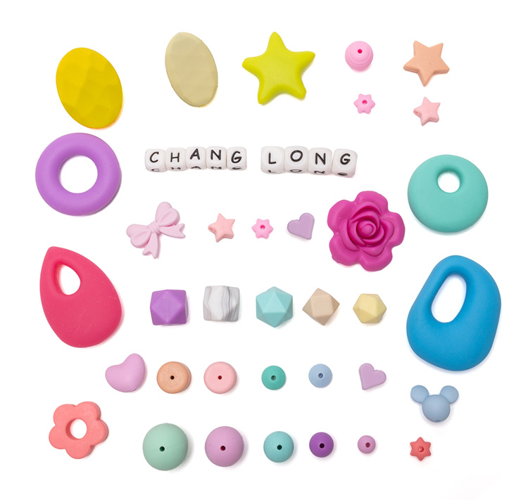 Silicone Beads Teething Flower Shaped Silicone Necklace Sensory
