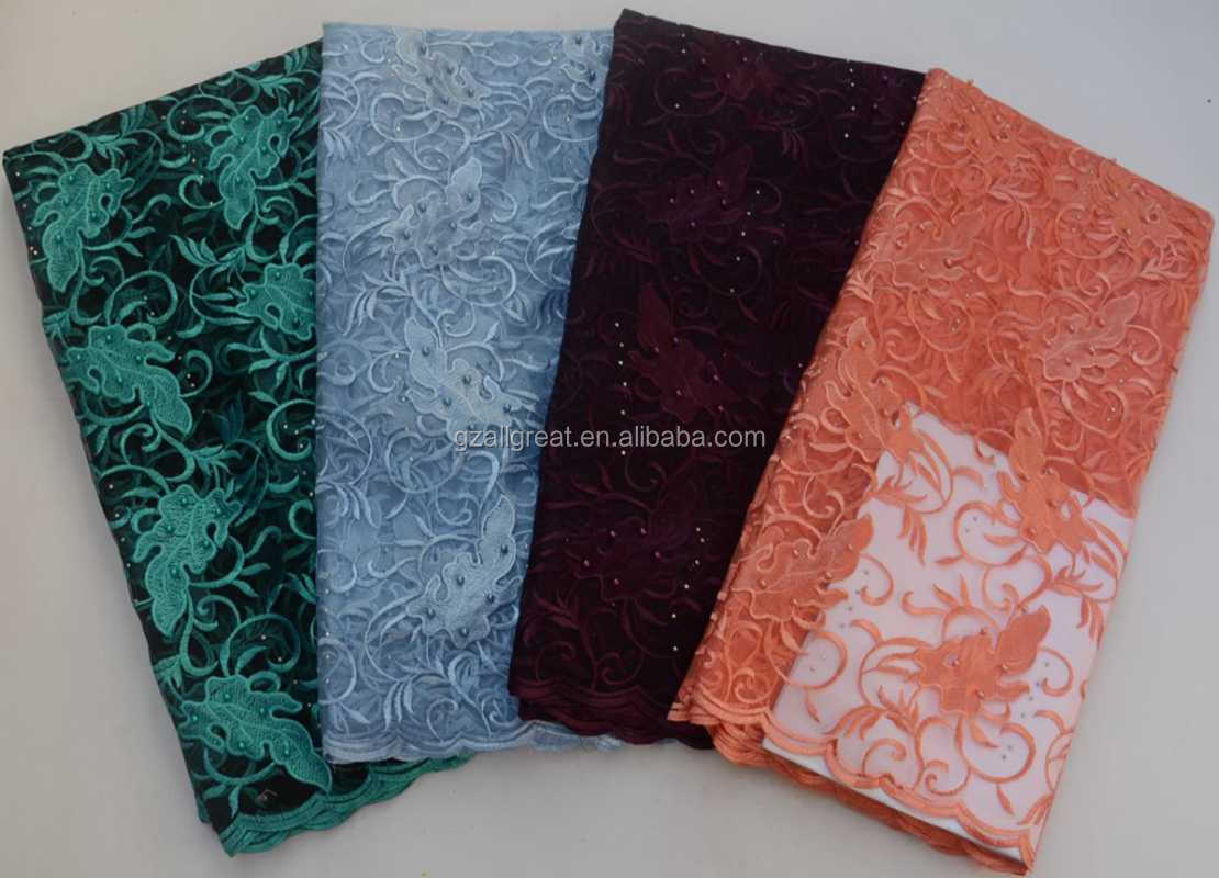 AG6171 African french lace fabric Embroidery net lace with stones High Quality french net lace fabric