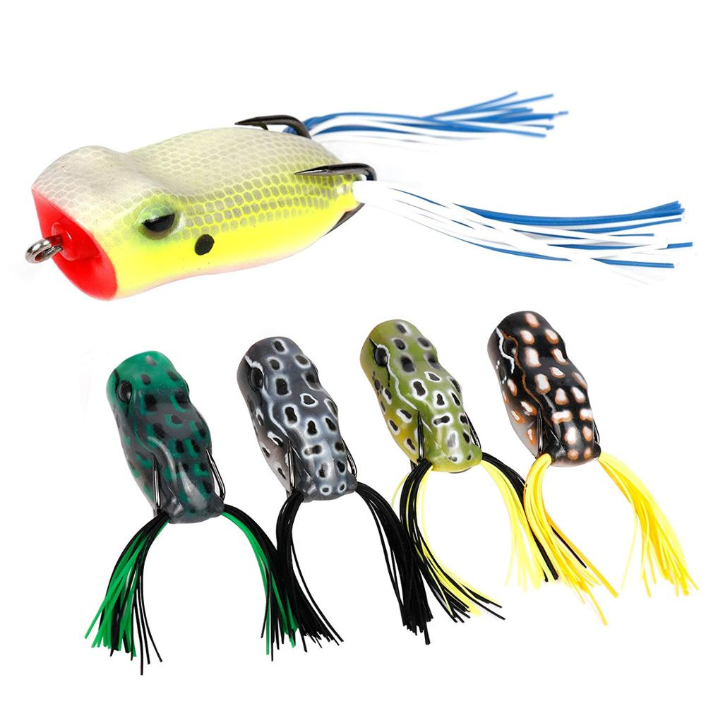 RUNCL Quick Delivery (Pack of 5) Soft Fishing Lure Twin Skirt Topwater Frog Lures