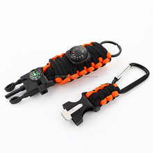 Camping survival paracord keychain bracelet with compass
