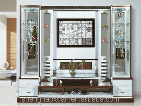 New Furniture 2014 2017 new design tv cabinet with showcase wall unit furniture 9918