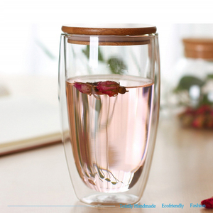 Hot Selling Products Water Cup Double Wall Crystal Handmade Borosilicate Glass Tea Coffee Cup with Cover