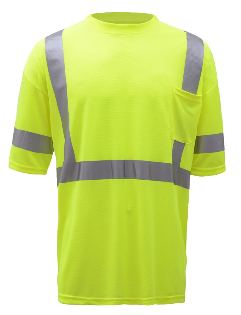 Fluorescein Yellow Color T-shirt Men\'s Reflective Clothing T Shirt ...