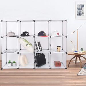 Transparent DIY plastic wardrobe Shelves Storage Cabinet 12 Cube White