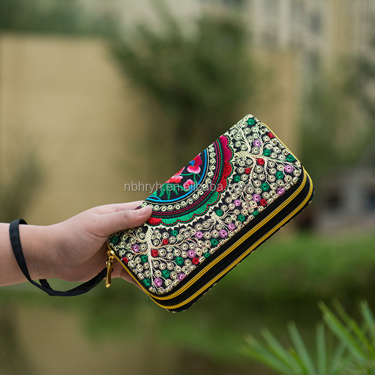 2017 Embroidered Ladies Long Zip <strong>Wallet</strong>
