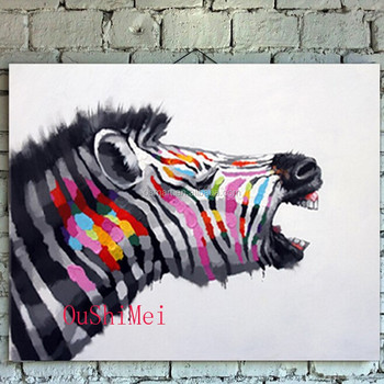 Top Artist Pure Hand-painted High Quality Zebra Oil Painting On Canvas  Modern Abstract Funny Zebra Oil Painting For Living Room - Buy Zebra Oil