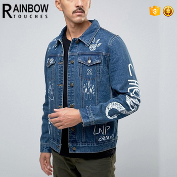 Bulk Custom Printed Graffiti Denim Jackets For Men With Two Chest