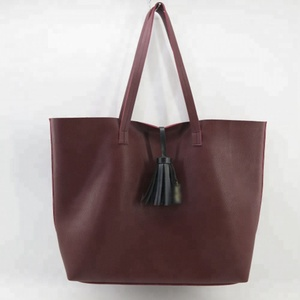 Wholesale Simple Style Woman Soft PU Leather Tassel Tote Handbag