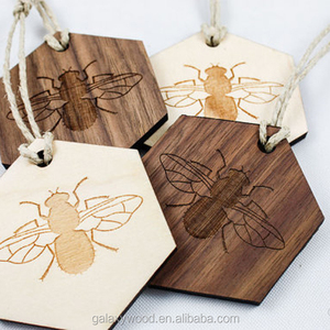 unfinished Wood Hanging Ornament for crafts,laser cut wood hexagon bumblebee pieces