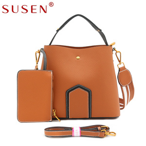SUSEN handbags China Manufacturer litchi grain leather PU Leather Handbag ladies with detachable strap