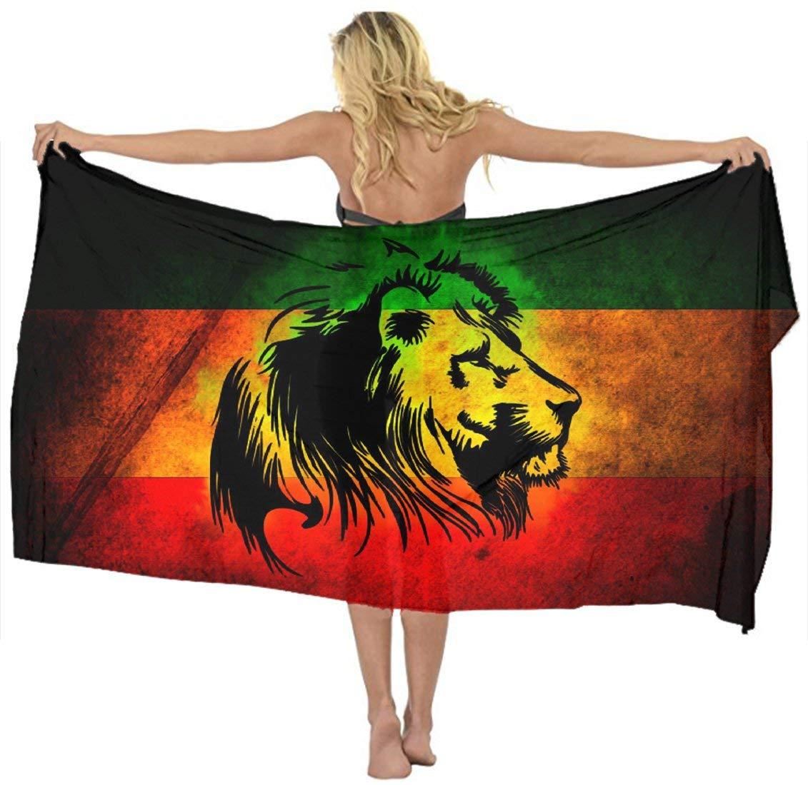 39c077fb33 Get Quotations · AMERICAN TANG Cover up Beach Sarong Wrap Reggae Rasta Flag  Lion Black Scarf