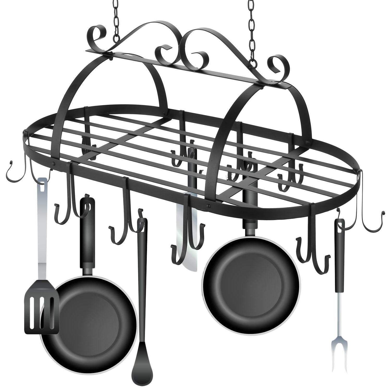 Iron Hanging Pot Rack Holder, Kitchen Ceiling Mounted Pan Cookware Rack Hanger Organizer with Hooks (Black)
