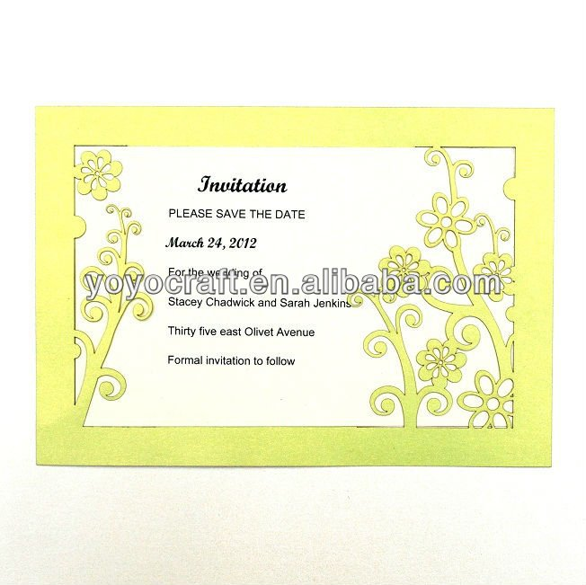 hot sale holiday supplies paper laser cutting invitation card INC005 with envelope and insert