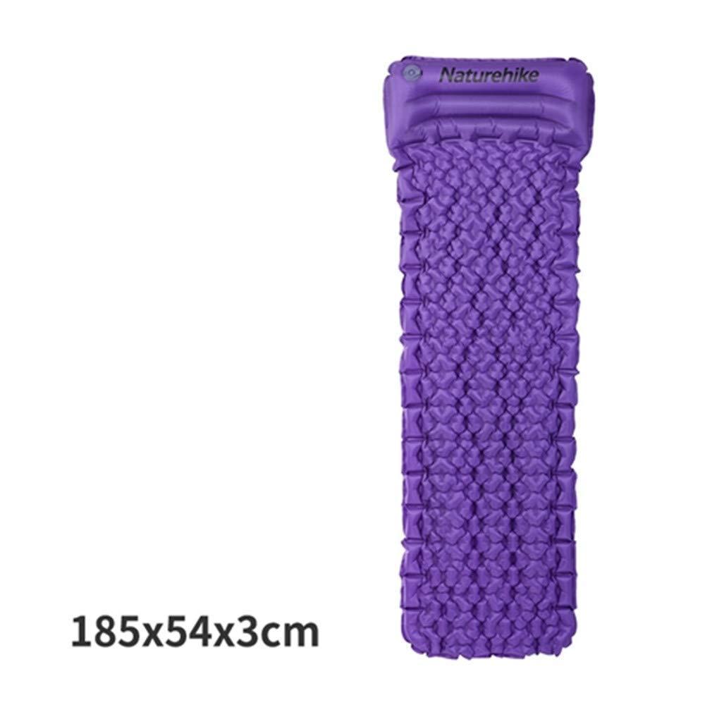 SHDIOU Outdoor Inflatable Cushion Sleeping Bag Mat Fast Filling Air Moistureproof Camping Mat with Pillow Sleeping Pad 460G