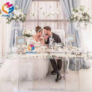 Hotel banquet dining wedding event furniture clear plexiglass crystal acrylic wedding table for sale