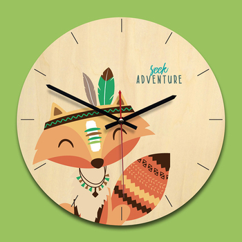 2018 Indian Cartoon Style Natural Wood 12Inch Round Wall Clock