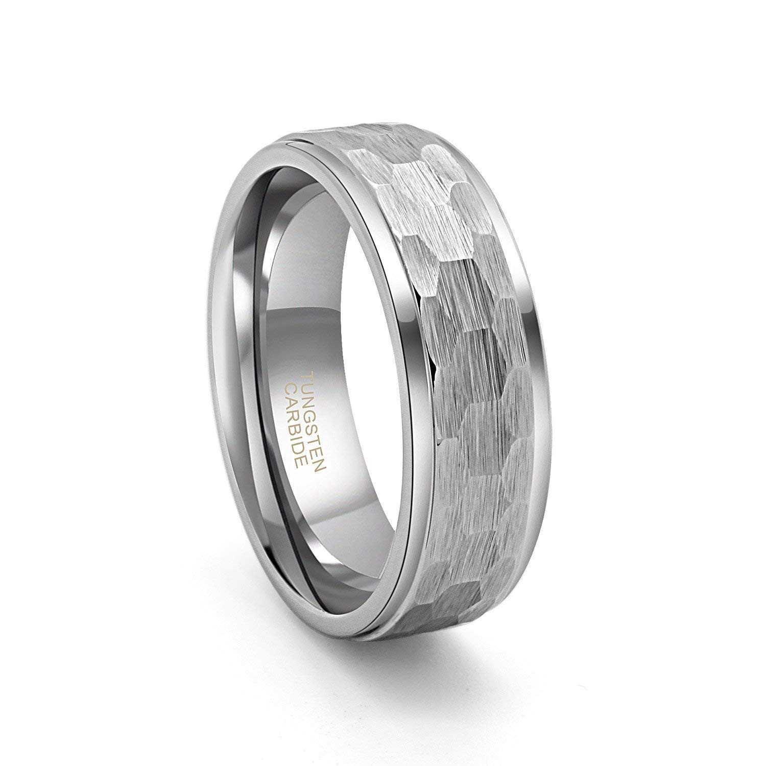 Athena Jewelry Tungsten Collection Unisex Stylish Genuine Tungsten CARBON FIBER Wedding Band Ring in a Gift Box Size Selectable