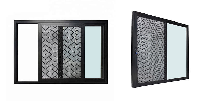 Australian standards custom security black aluminium sliding glass windows with mosquito net