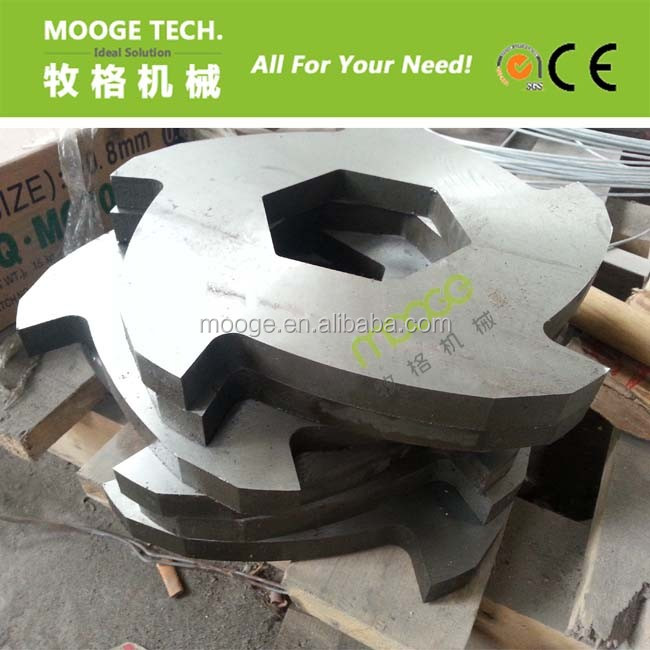 Tire/hout/metaal/rubber/plastic fles dubbele as shredder blade