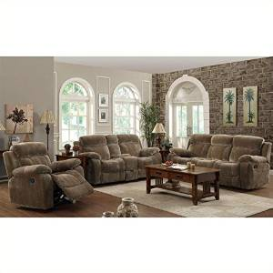 Coaster Myleene Motion 3 Piece Reclining Sofa Set in Padded Velvet