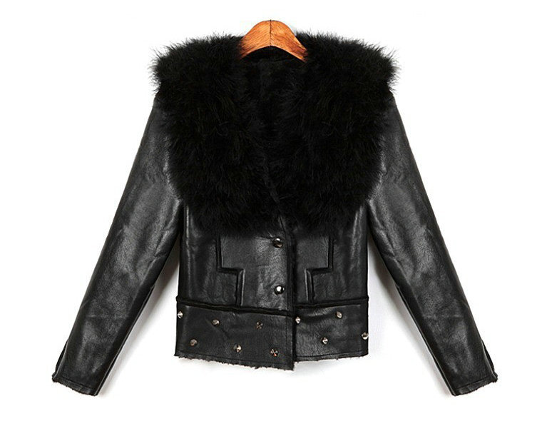 Hot Sale 2015 New winter women's Ostrich hair padded collar fleece with rivet washed leather coats jackets women clothing