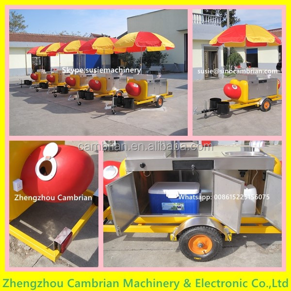 Hand push fast food kiosk with 2 big wheels