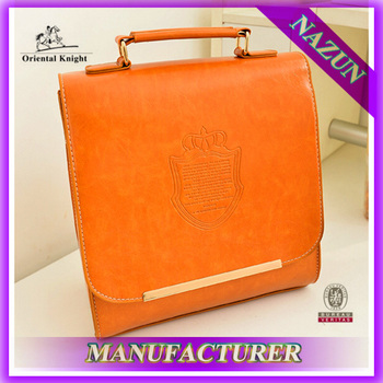 Classic Orange Handle Style Europe School Beauty Handbags Soft Pu ...