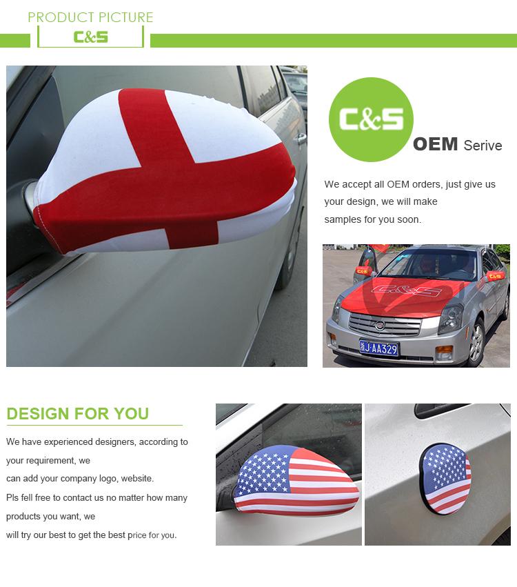 Gute Qualität Angepasst Logo Amerikanischen Auto Abdeckung Spiegel Flagge