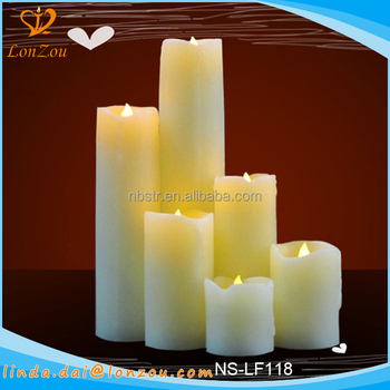 Cheap led candles different sized colored flame pillar for Different brands of candles