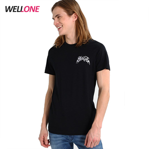 OEM service tagless round neck high quality embroidered custom printing design men black 95 cotton 5 spandex t shirts