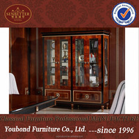 0068 Luxury living room showcase design,classic glass display wine cabinets