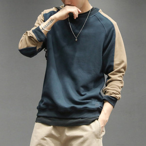 Hot Custom Mens Crew Neck Cotton French Terry Blank Color Block Streetwear Sweatshirts