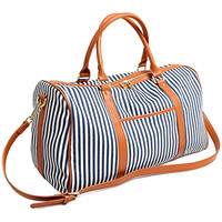 Custom Fashion Ladies Travel Duffel Leather Canvas Weekender Bag