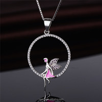 Wholesale High Quality CZ Jewelry Angle Wings Girl Pendant 925 Silver
