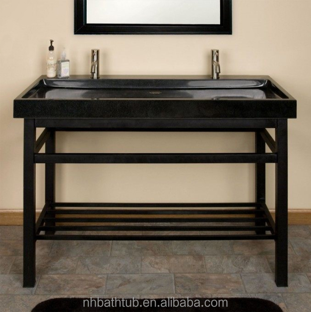 Popular granite Shanxi black console top stone sink with iron console stand