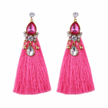 NEW women red exotic vintage big rhinestone crystal full tassel earrings