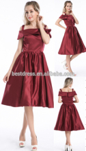 Ladies Nice Design r-Neck Knee Length Red Cotton Cheap Vintage Dress 4597