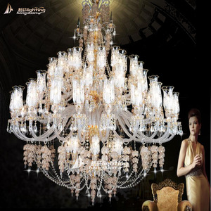 Large crystal glass chandelier k9 high quality crystal in different size for customized