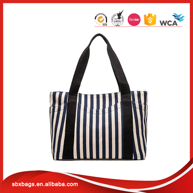 Striped Heavy Canvas Shoulder Hand Bag With Outer Pocket Roomy Handtaschen