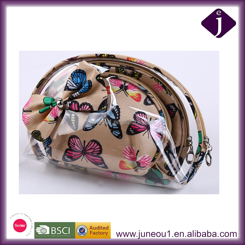 3pcs clear printing Butterfly cosmetic bag pvc waterproof multifunctional wash bag Make Up Bag with bow wholesale