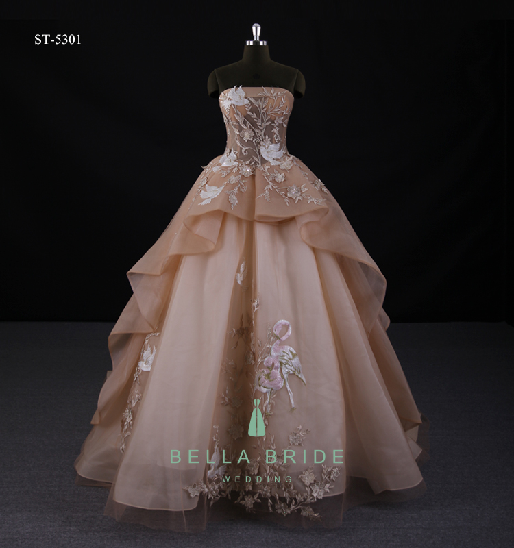 Guangzhou Designer Unique Wedding Dresses Fashion Couture Chocolate Wedding Gowns Nude Bridal Dressing Gown Custom Plus Size View Chocolate Wedding