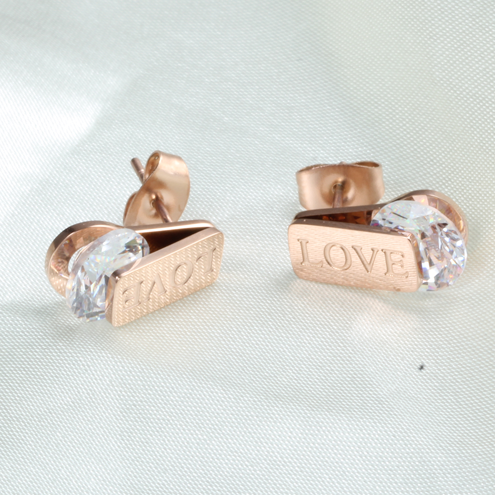 Fashion Stainless Steel Stud Earrings Womens Rose Gold Earrings with Cubic Zirconia Stones Love Stamped