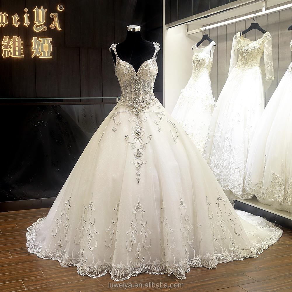 High Quality Crystal Beaded thin strap Custom Made Wedding Gowns from dubai