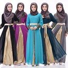 New design islamic clothing splicing embroidery chiffon muslim long sleeve maxi dress abaya