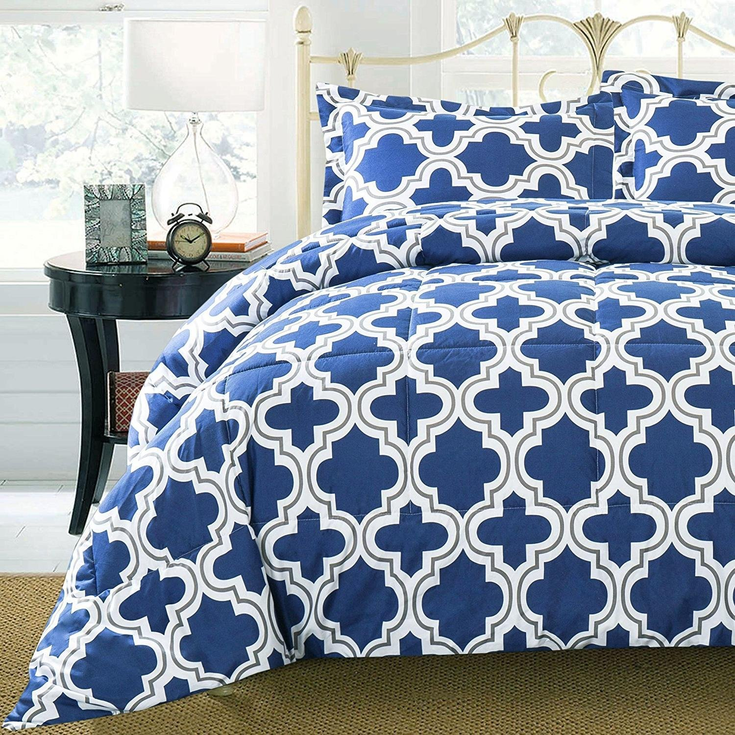 MS 3pc Navy Blue White Grey Trellis Comforter Full Queen Set, Fun Vibrant Geometric Lattice Floral Theme Bedding, Microfiber Dark Gray, Quatrefoil Themed Pattern