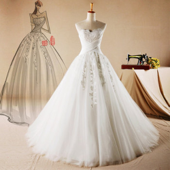 AH103 Sweetheart Neckline Ball Gown Lace Up Back Wedding Dress Pattern Applique Bride Dresses Sweep Train