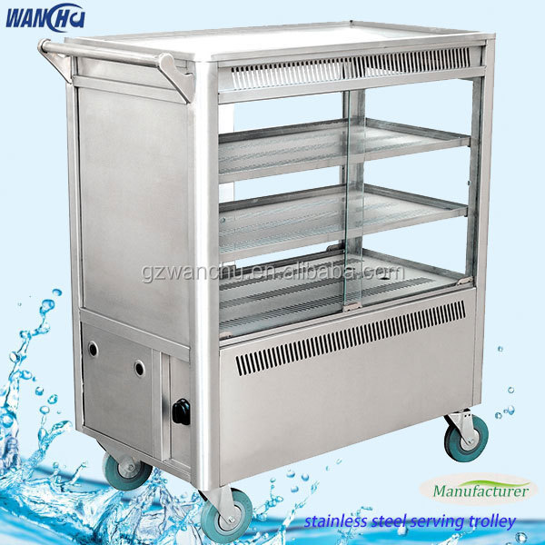 Ideal Electric Snack Trolley,Stainless Steel Mobile Food Cart,Dining  SZ06