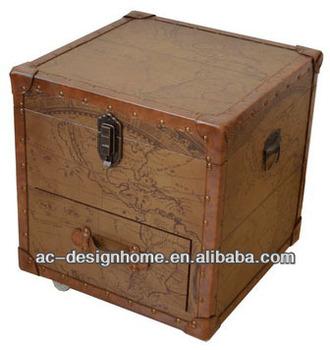 Pu Wooden Map Cabinet W 1 Door Drawer
