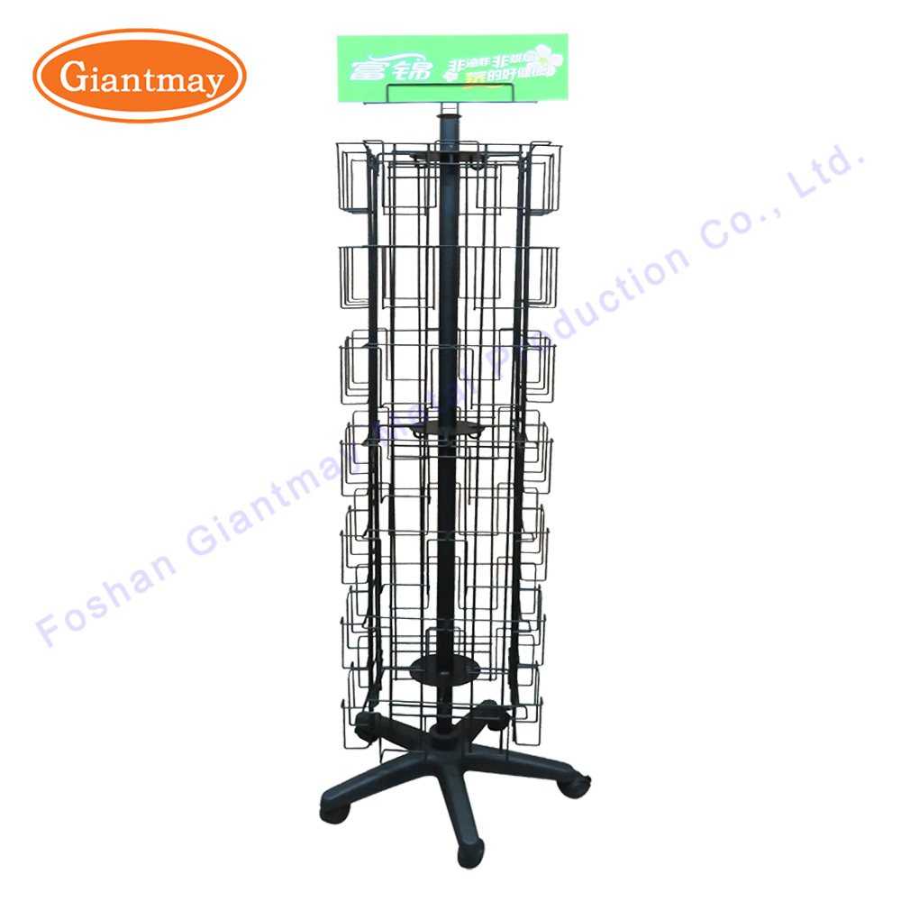 Wholesale Collapsible Floor Standing Rotating Metal Wire Pockets